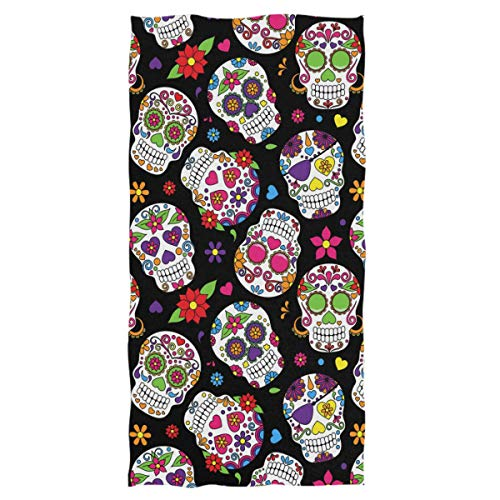 Wamika Day of The Dead Sugar Skull Hand Towels Ultra Soft Towel Heart Flower Absorbent Hand Towel...