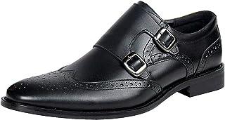 rismart Hommes Double Monk Strap Brogue Formel Boucle Chaussures Habillées