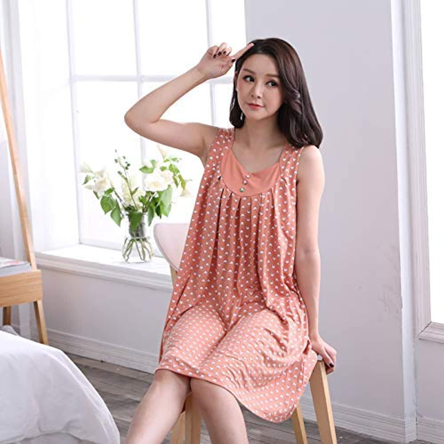 DALAI Summer Pajamas Middle-Aged Ladies Sleeveless Vest Nightdress Modal XL Fat mm can be Worn Outside Home Service (Size   L100130) (Size   L100130)