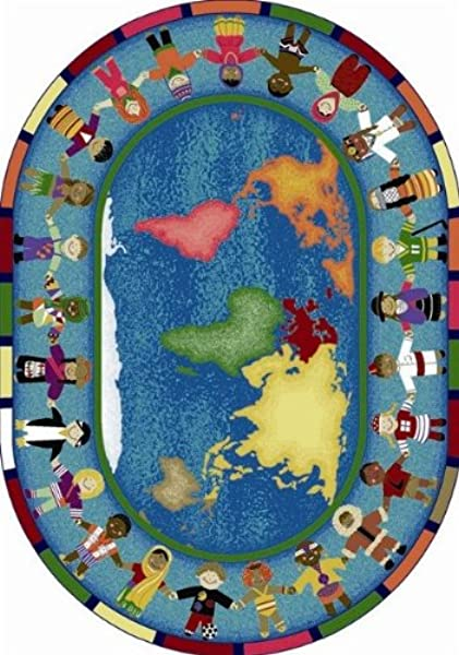 Joy Carpets Hands Around The World Kids Area Rug Size 5 Ft 4 In X 7 Ft 8 In Oval