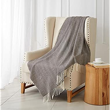 "MERRYLIFE Decorative Knitted Throw Blanket (Large) Sofa, Couch, or Bedroom Décor | Breathable Warmth, Plush Acrylic Fabric | 50"" x 60"" Herringbone-Brown"