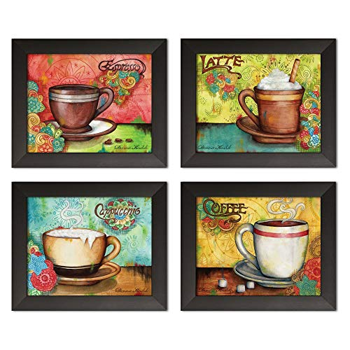 Popular Colorful Espresso, Coffee, Cappucino and Latte Set; Kitchen Decor; Four 10x8in Black Framed Prints; Ready to Hang!