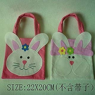 RRIMIN Pack of 2 Lovely Easter Rabbit Bunny Fabric Tote Kids Gift Egg Bags