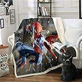 DFTY Marvel Spiderman Decke, Anime, Cartoon, digitaler 3D-Druck, Kinderdecke für Zelten, Picknicks, Büro & Wanderungen, Mikrofaser, 8, 150*200CM
