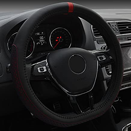 Marron XuanMax Universal Funda de Volante Coche Cuero Genuino Piel Respirable Vehiculo Cubierta del Volante Envoltura Protectora Antideslizante Auto Genuine Leather Steering Wheel Cover 38cm