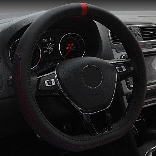 XuanMax Universal D Forma Funda de Volante Coche Cuero Microfibra Respirable Cubre Volante Piel Vehiculo Cubierta del Volante Envoltura Protectora Antideslizante Auto Steering Wheel Cover 38cm - Rojo