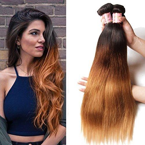 Ombre brésilien Vierge cheveux raides 3 trames tissage 100% cheveux humains Extensions 95–100 g/piece # 1B/# 4/# 27 couleur (16 18 20)