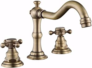 All Copper Split Three Hole Basin hot and Cold Water Mixing Faucet European Style Antique Toilet Basin Basin Faucet Three Sets,A