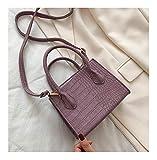 QEEN Pequeño patrón de cocodrilo PU de Color sólido PU Bolsas de Crossbody para Mujeres 2020 Verano Dama Hombro Bolsos Hombros Femeninos Emos Simples (Color : Purple, Size : 17x22x8CM)
