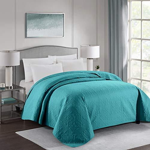 ALPHA HOME Tagesdecke mit Prägung, Queen-Size-Größe, 243,8 cm, 243,8 cm, Polyester, leicht, kariert, maschinenwaschbar, einteilig, wendbar, gemütlich, für alle Jahreszeiten, Blaugrün