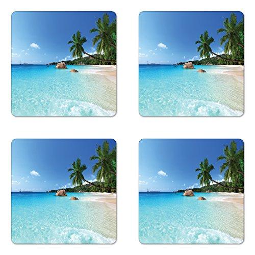 Ambesonne Ocean Coaster Set of 4, Anse Lazio Beach at Praslin Island Surfing Beach Scenic View Travel, Square Hardboard Gloss Coasters, Standard Size, Blue Turquoise