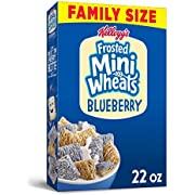 Kellogg's Frosted Mini-Wheats, Breakfast Cereal, Blueberry, Excellent Source of Fiber, Family Pack, 22oz Box