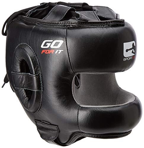 Protezione per la testa da boxe, MMA, UFC, barretta facciale, in pelle, per boxe, arti marziali, arti marziali, MMA, kick Gear Protector (taglia M)