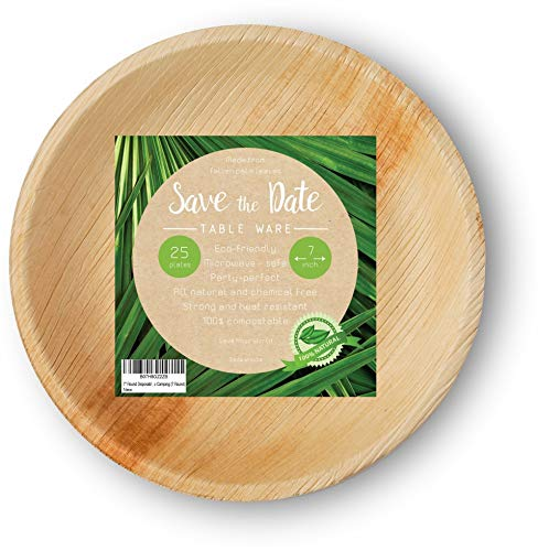 [25 Pcs] 7' Round Disposable Dinner Set Party Appetizer Bamboo Areca Palm Leaf Plates Compostable Biodegradable Heavy Duty Alternative To Paper Wood or Plastic Eco Friendly for BBQ Wedding Event Home