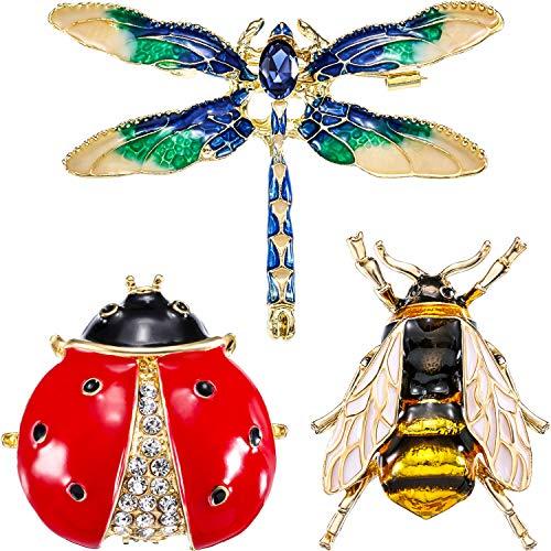3 Piezas de Broche de Cristal de Diamantes de Imitación, Pasadores de Insecto Abeja Adorable, Broche de Libélula, Mariquita para Decoración de Moda y Regalo a Amigos