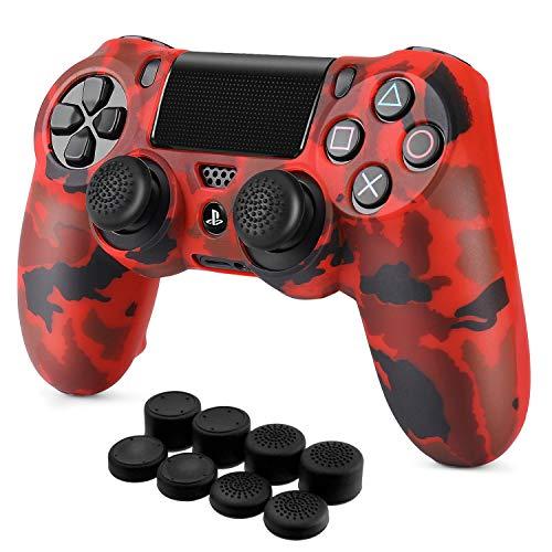 TNP Schutzhülle für PS4 / Slim/Pro Controller, griffig, weiche Silikon-Gel-Gummischale und rutschfeste Daumenstick-Kappen für Sony Playstation 4 Controller Gamepad (Camo Red)