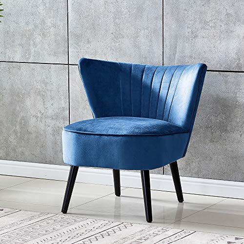 QIHANG-UK Accent Tub Chairs, Soft Padded Wing Back Fireside Chair Velvet Lounge Sofa Chair, Occasional Oyster Chair with Wood Legs for Living Room Reception Room Bedroom, Royal Blue