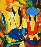 Pintura abstracta de mujeres y gatos, pintura digital de bricolaje por números, imagen de arte de pared moderna para arte de pared del hogar, sin marco