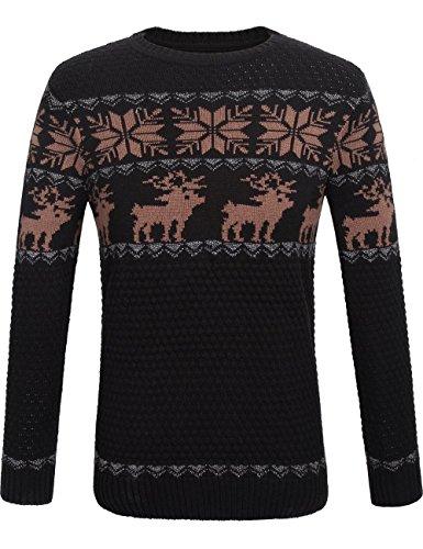 SSLR Herren Weihnachtspullover Strickpullover Feinstrick Pullover mit Rundhals Basic Langarm Strick Pulli Sweater Sweatshirt Oberteile (Medium, Schwarz Braun)