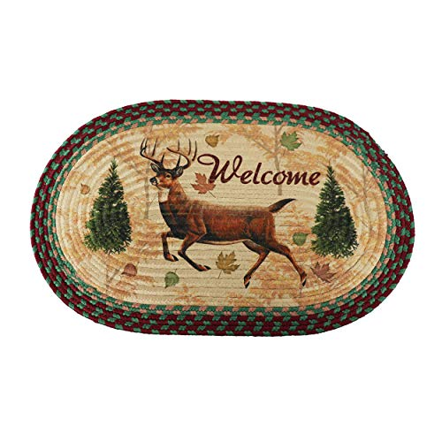 River's Edge Products Deer Braided Rug, 26 Inch Oval Indoor Area Rug, Cabin Decor