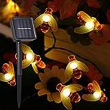Guirnalda Luces Exterior Solar,Tomshine 50 LEDs 6.9m Cadena de Luces de Abeja LED Decorativas,IP44 Impermeable,8 Modos...