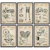 MONOKO® Juego de 6 pósteres de Harley Davidson, patente, vintage, sin marco, 6 unidades A4 (21 x 29,7 cm)