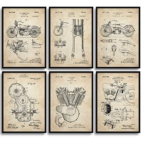 MONOKO® Harley Davidson, poster con immagine di brevetto, retro vintage, set da 6 pezzi senza cornice (set Harley Davidson, Patent, Vintage, 6 x A3 (29,7 x 42 cm)