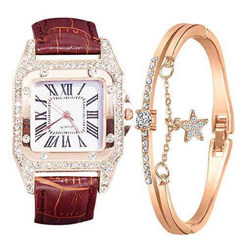 Damen Armbanduhr mit Armreif Armbänder Zweiteiliger Anzug Quartz Uhr Mode Damen Uhren Geschäftsquarzuhr Business Quarzuhr Armband Damenaccessoires Geschenk für Frauen (B-Braun)