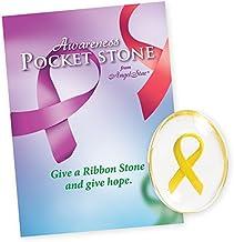 Angel Star Yellow Awareness Ribbon Smooth Worry Stone