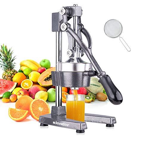 Slendor Commercial Citrus Juicer Manual Fruit Juicer and Orange Squeezer Metal Hand Press Juice, Heavy Duty Orange Juicer Lemon Lime Squeezer Pomegranate Premium Quality with Bonus Skimmer Spoon