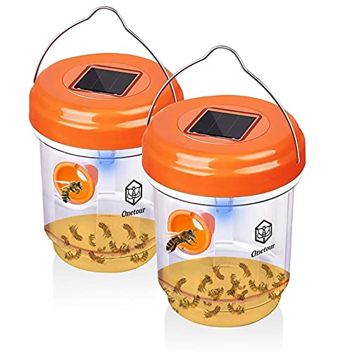 Wasp Traps for Hunting Wasps, Bees, Hornets, Insects, Yellow Jacket Traps, Wasp Trap Catcher, Reusable Solar Powered Hanging for Outdoor, 2 Packs