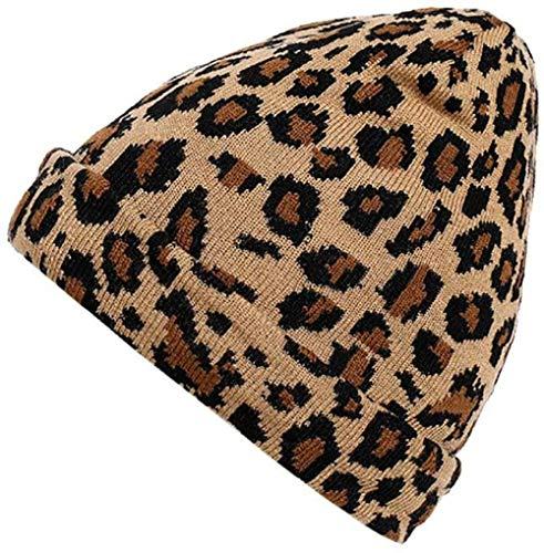 GTSER mütze Feitong Mode Erwachsene Frauen Männer Winter Leopard Häkelmütze Strickmütze warme Mütze Haarball warme Mütze-B