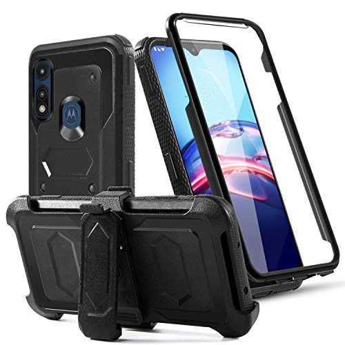 TGOOD for Moto E (2020) Case, Moto E Phone Case,Moto E7 Case, with Built-in[Full Coverage Screen Protector] [Kickstand] Swivel Belt Clip Holster Heavy Duty Sturdy Case for Motorola Moto E- Black