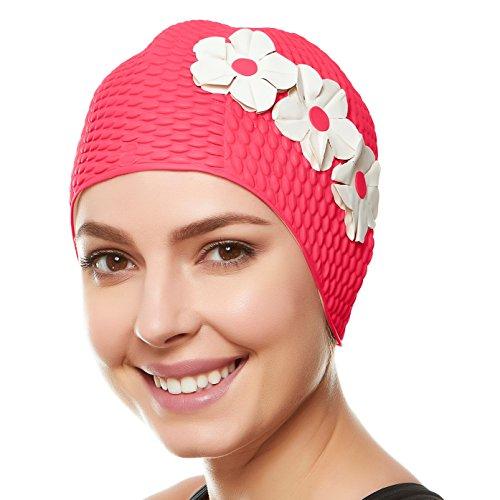 Beemo - Cuffie da nuoto, in lattice, con tre fiori, da donna, per capelli lunghi e corti, Unisex - Adulto, Rosa con fiori bianchi