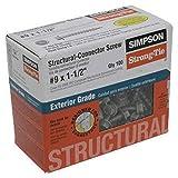 Simpson Structural Screws SD9112R100 - Tornillo de conector estructural n.º 9 por 1-1/2 pulgadas, paquete de 100