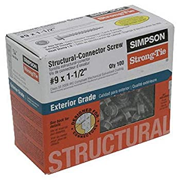 Simpson Structural Screws SD9112R100 No.9 by 1-1/2-Inch Structural-Connector Screw 100-Pack