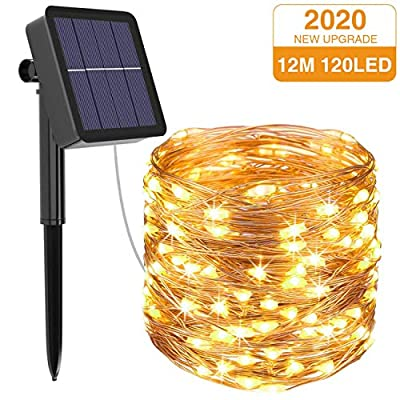 Litogo Solar String Lights Outdoor, 39Ft 120 LED Solar Fairy Lights Outdoor IP65 Waterproof 8 Modes Copper Wire Twinkle Lights for Garden Yard Patio Christmas Home Party Indoor Decorative (Warm White)