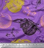 Soimoi Lila Schweres Canvas Stoff Periwinkle, Blätter und
