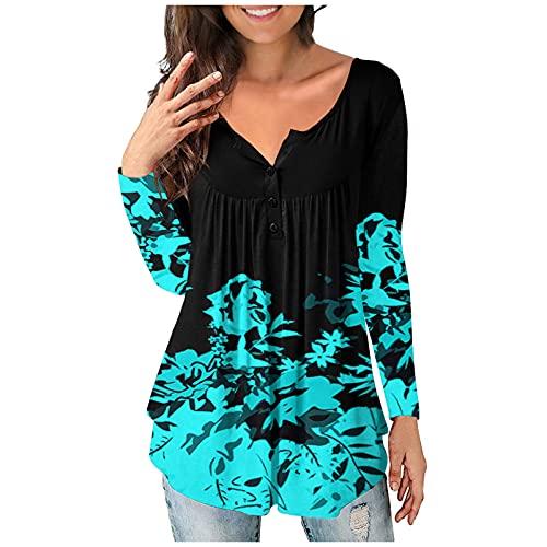 ZuzongYr Blusa de verano para mujer, manga larga, manga corta y sin mangas, parte superior de verano, de algodón, opaca, básica, suelta, elegante, túnica, A46- Blau, L