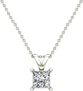 Princess Cut Diamond Pendant Necklace for women 14K Gold Chain (I, I1)