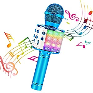 ShinePick Karaoke Bluetooth Microphone, 5 in 1 Recording & Singing Microphone for Kids Adults, Dancing LED Lights Portable Speaker Karaoke Machine, Wireless Microphone for Phone/Pad/TV (Blue)