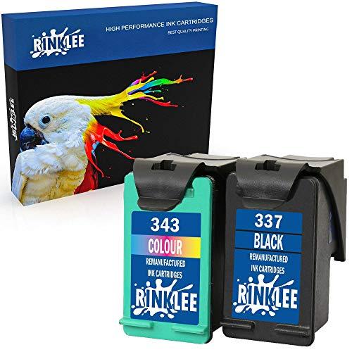 RINKLEE Wiederaufbereitete Tintenpatrone für HP 337 343 kompatibel mit HP Photosmart 2500 2570 2575 C4140 C4150 C4180 C4190 D5160 8049 Officejet 6300 6310 6315 Deskjet D4160 5940 | 1 Schwarz, 1 Farbig