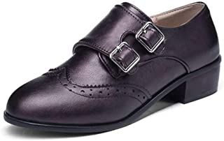 Women's Platform Wingtips Oxfords Shoe Comfort Buckle Square Toe Flats Low Heel Saddle Brogue Shoes