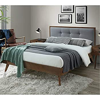DG Casa Montana Mid Century Modern Platfrom Bed Frame with Tufted Upholstered Headboard Queen Size in Grey Fabric