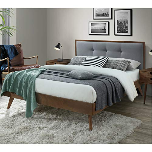 DG Casa Montana Mid Century Modern Platfrom Bed Frame with Tufted Upholstered Headboard, Queen Size in Grey Fabric