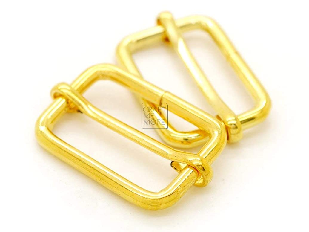 CRAFTMEmore Movable Bar Slide Strap Adjuster Rectangle Strap Keeper Triglide Belt Keeper Purse Making 5/8