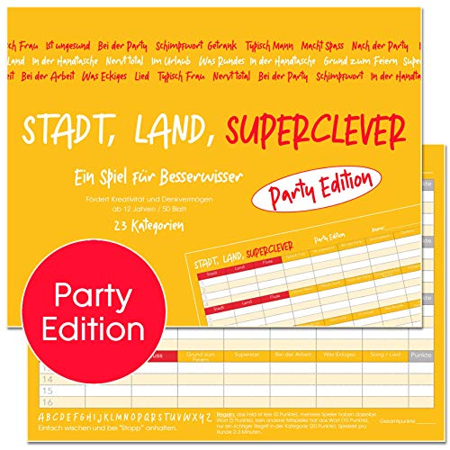 Stadt, Land, Superclever (Party Edition). Stadt, Land, Fluss Jugendliche und Erwachsene (ab 12 Jahren). Block DIN A4, 50 Seiten (20566)
