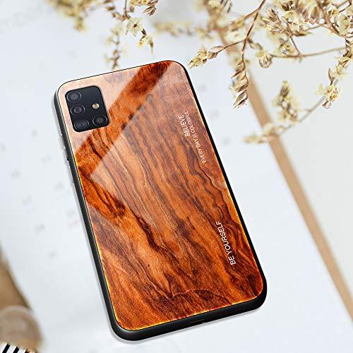 Kompatibel mit Samsung Galaxy A51 Hülle [Holz Muster], Ysimee Schutz 9H glattes Glas Rückseite & Matt Silikon Bumper Farbverlauf Farbe Schutzhülle Kratzfeste Stoßfeste HandyHülle - Holz -6