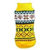 YAOTT Jerseys para Perros Suéteres Navideños de Cuello Alto para Perros Copos de Nieve Impresos de Punto Disfraz Invierno Cálido para Perros Pequeños Medianos Amarillo XL