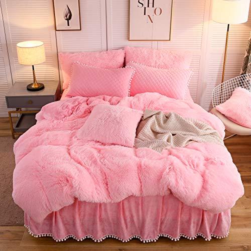 LIFEREVO Luxury Plush Shaggy Duvet Cover Set (1 Faux Fur Duvet Cover + 2 Pompoms Fringe Pillow Shams) Solid, Zipper Closure (Queen Pink)